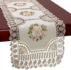 Grelucgo Handmade Crochet Cotton Lace Table Runner and Dresser Scarf, Ribbon Embroidery, Rectangle16x70 Inches