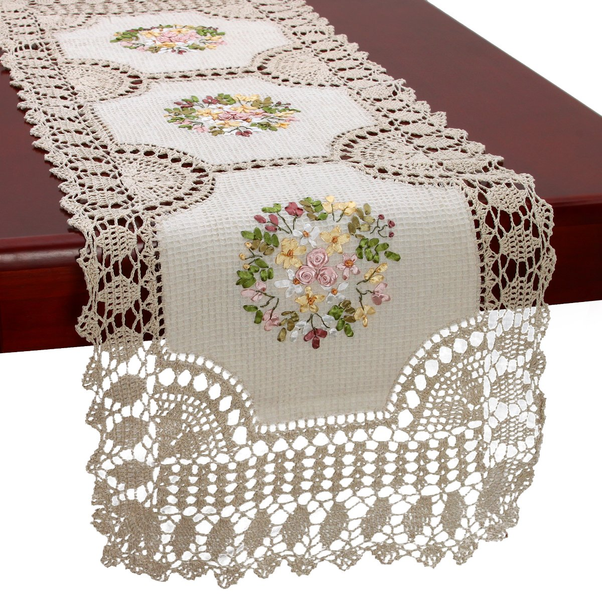 GRELUCGO Handmade Crochet Cotton Lace Table Runner And Dresser Scarf, Ribbon Embroidery, Rectangle16x45 Inches
