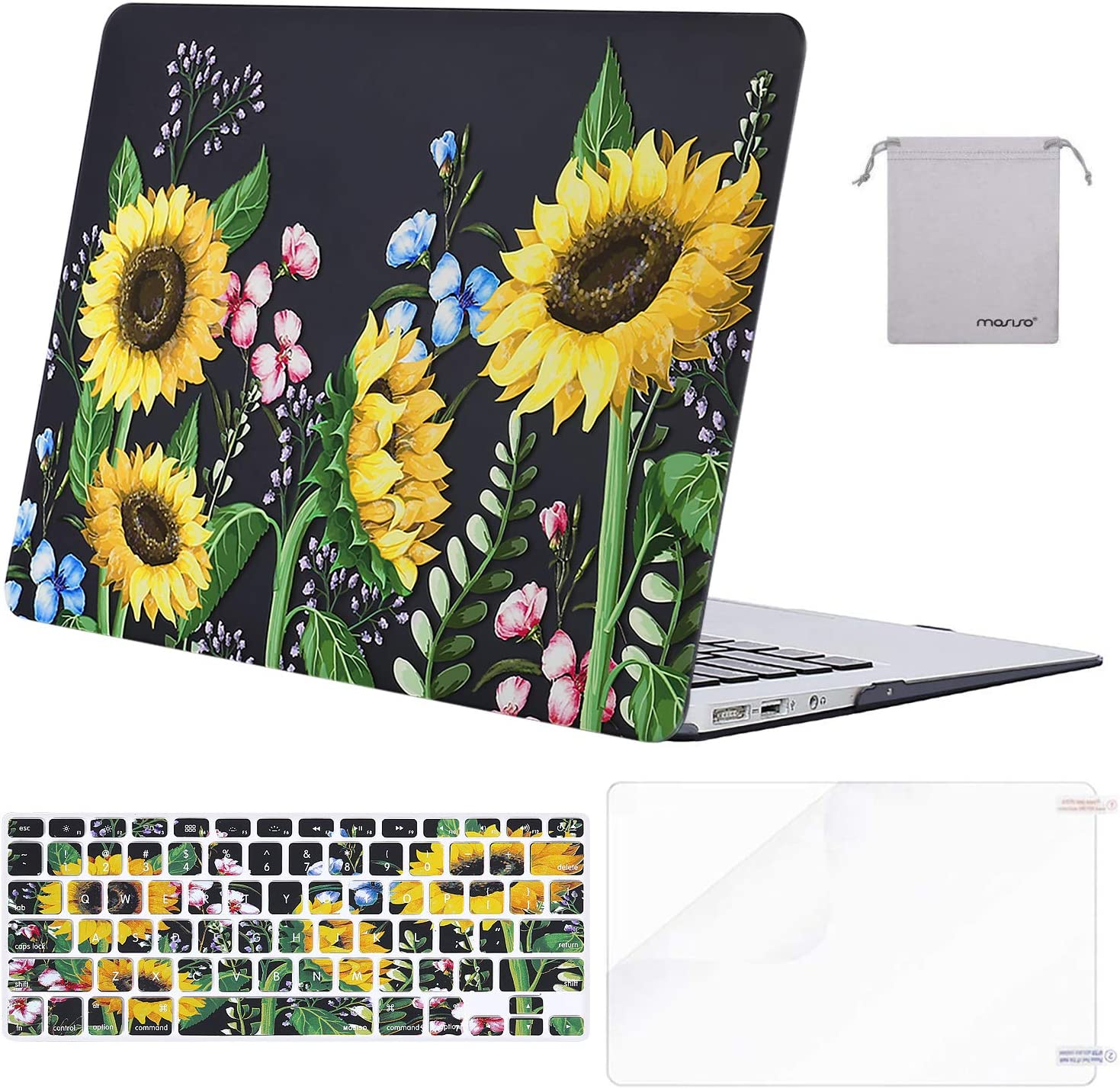 MOSISO MacBook Air 13 inch Case(A1369 A1466, Older Version 2010-2017 Release),Plastic Pattern Hard Case&Keyboard Cover&Screen Protector&Storage Bag Compatible with MacBook Air 13, Sun Plant