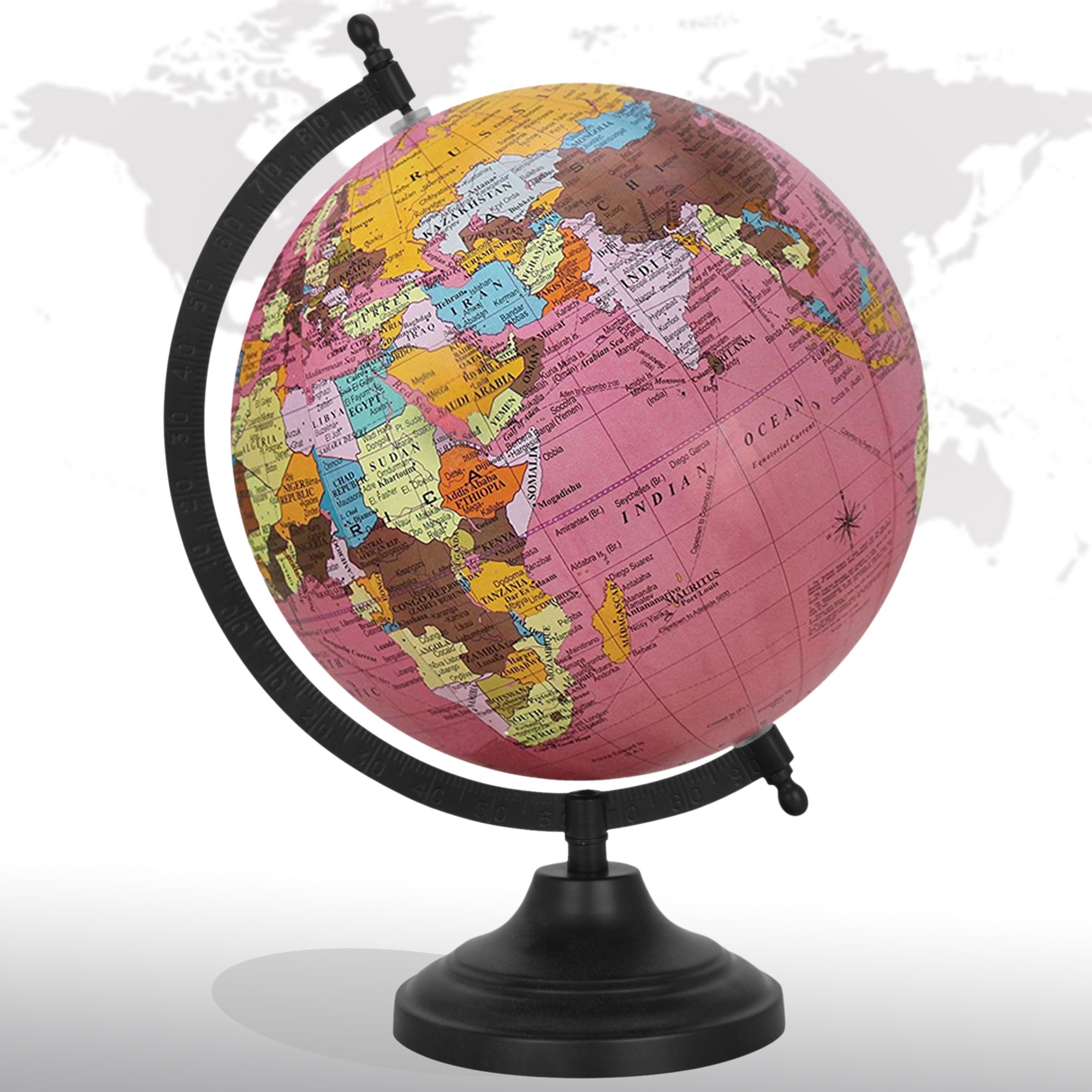 Decorative Rotating World Map Globe Pink 8'' Inches Metal Base Educational Globe Office Table Décor