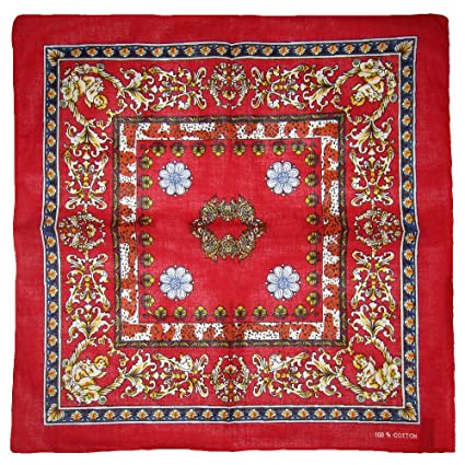 "22/""x22/"" Floral Angel Cherub Red 100/% Cotton Bandana"