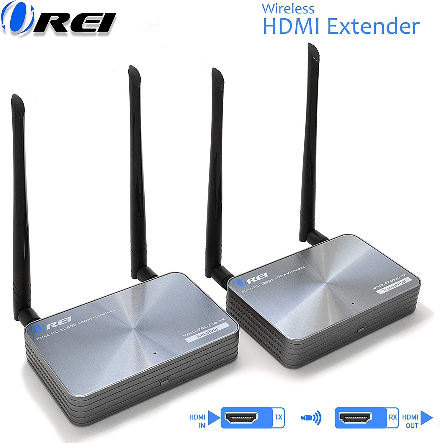 Orei Wireless HDMI Transmitter & Receiver Extender - Upto 300 Feet - Long Range - Perfect for Streaming from Laptop, PC, Cable, Netflix, YouTube, PS4 to HDTV/Projector - IR Support - Low Latency