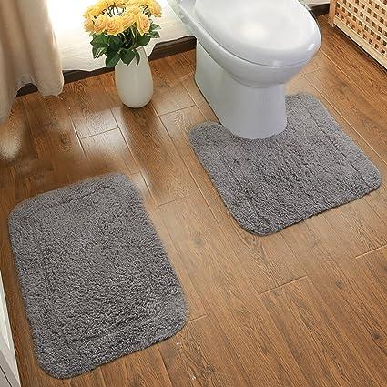 amazon com ustide 100 cotton bathroom rug set contour toilet rh amazon com grey bedroom rugs grey and beige bathroom rugs