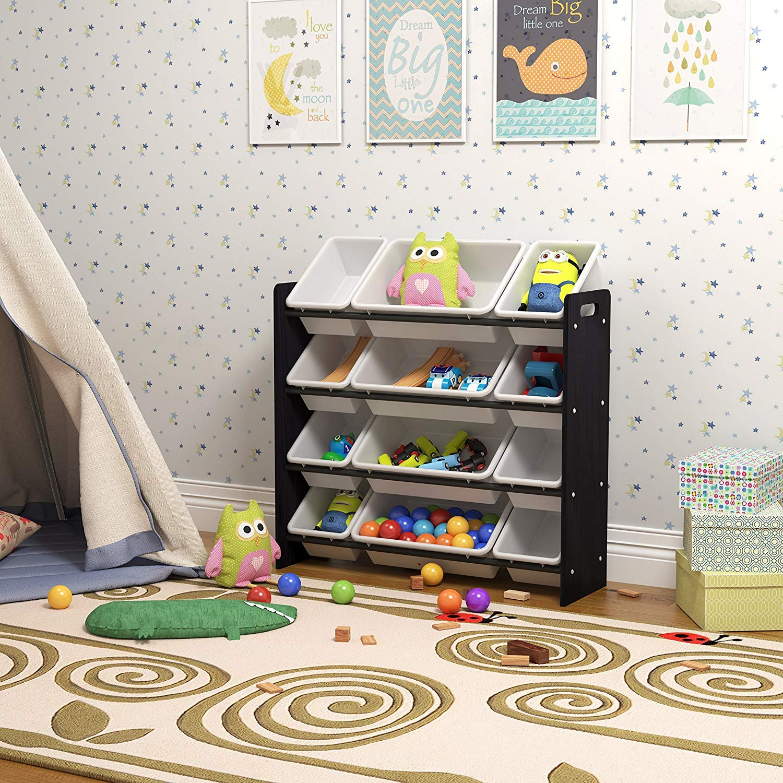 Pidoko Kids Storage Organizer with Plastic Bins - Multicolor - Wooden Children's Storage Rack (Espresso)