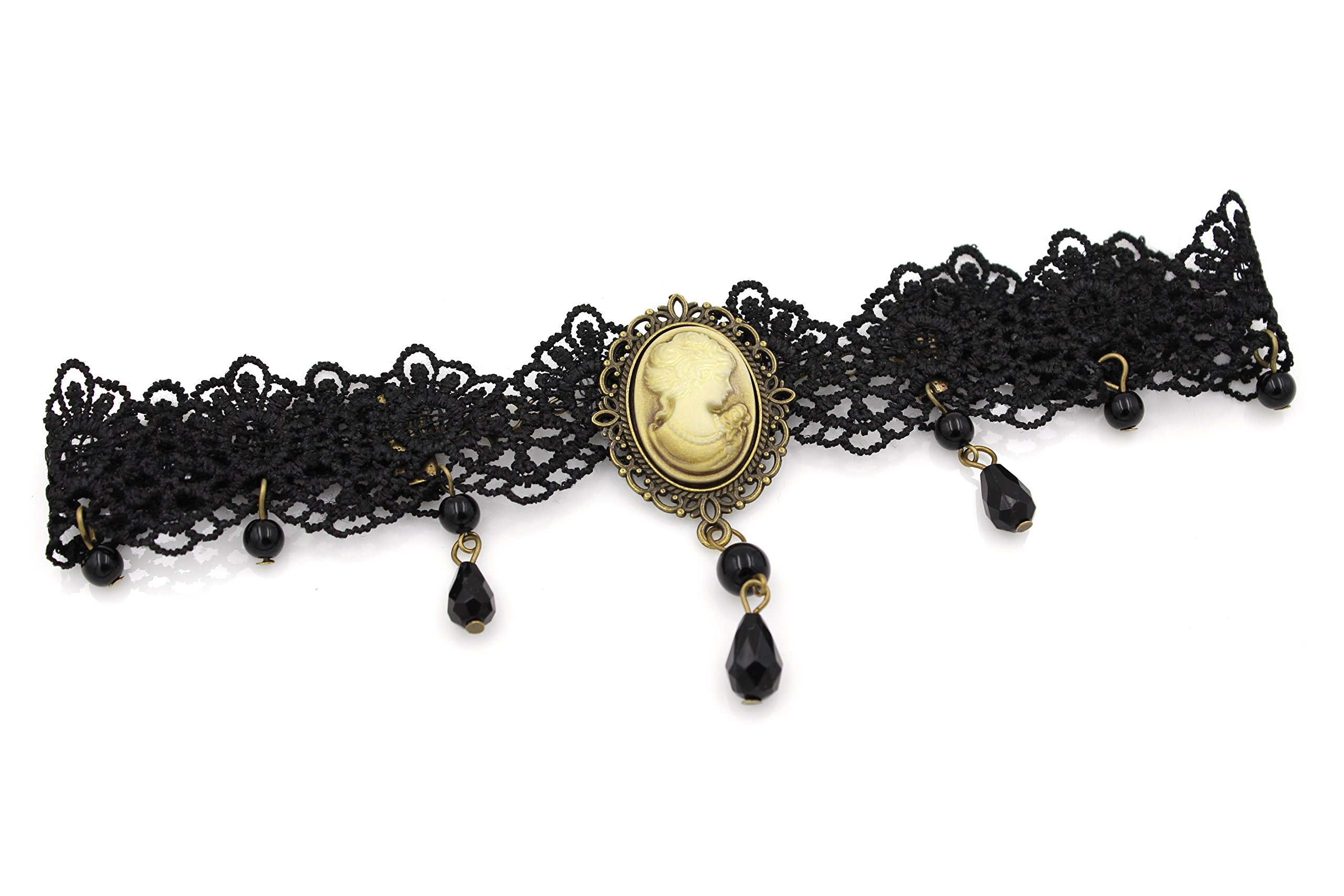 Glazed Black Cherry Steampunk Victorian Lady Cameo Choker Necklace - Gothic Goth - Bead Drop Vintage - Steam Punk - s30 4