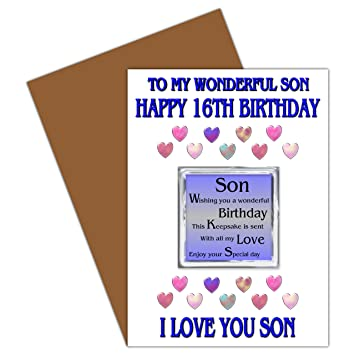 Son 16th Happy Birthday Card With Removable Magnet Gift