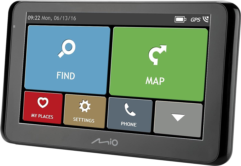 Mio Spirit 8670 Lm Navigationsgerät Mit 6 2 Touchscreen Bluetooth Technologie Freisprechfunktion Lebenslangen Kartenupdates Gesamt Eu Schwarz Karten Gesamt Eu Navigation
