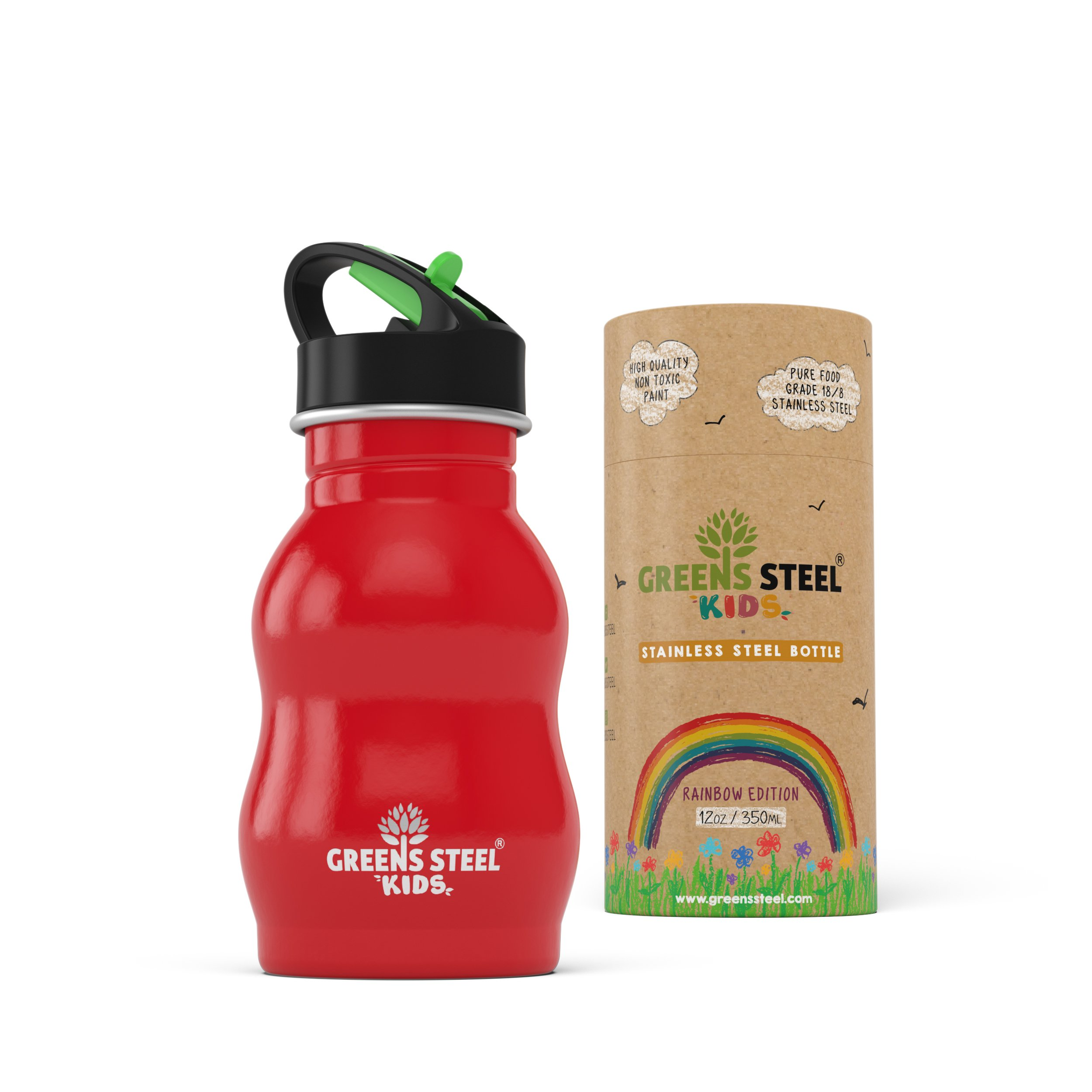 Kids Stainless Steel Water Bottle 12 oz - Sippy Cup Leak Proof Sports Cap with Straw - Metal Kids Bottle - Toddler Child Friendly Flask (Red)