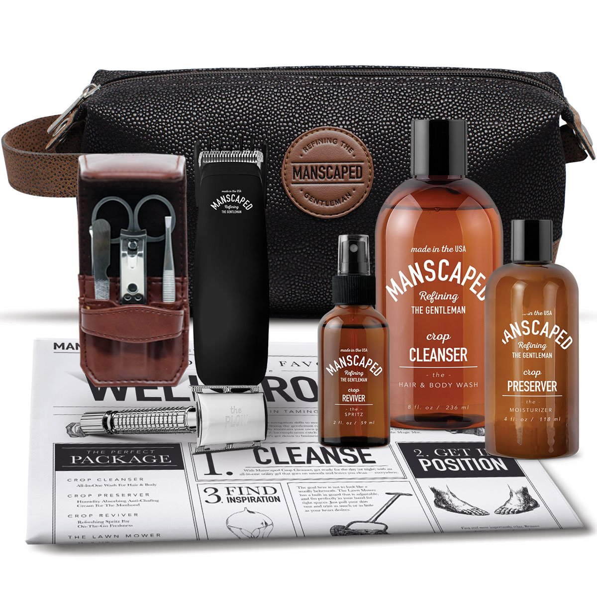 Men's Grooming Kit Includes: Manscaping Trimmer, Ball Deodorant, All-in-one body wash, Performance Spray-on-body Toner, Double Edged Straight Razor, five piece Nail Kit, Luxury toilet bag, shaving mat