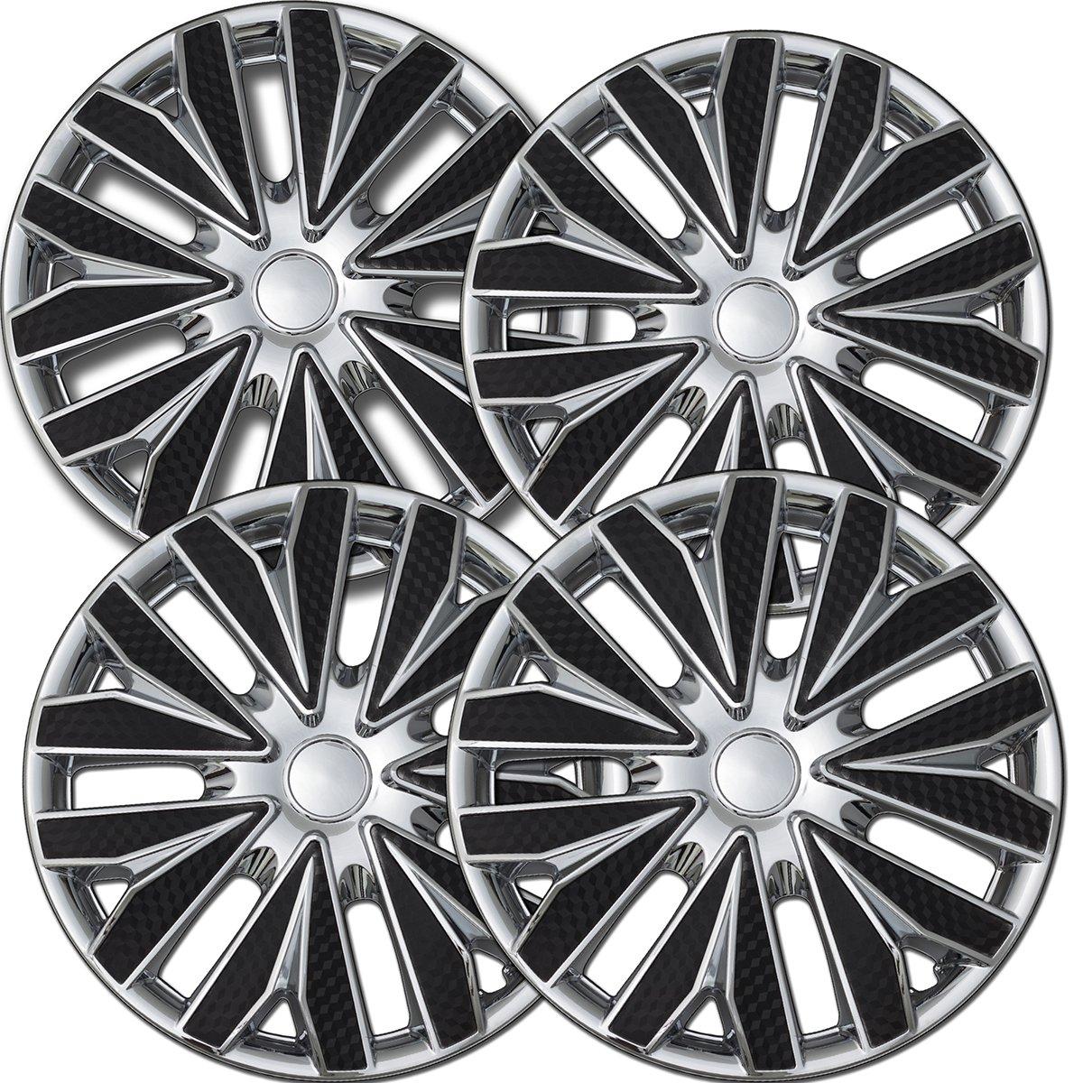 OxGord Hub-caps for 12-17 Nissan Versa Wheel Covers 15 inch Snap On Chrome Ice Black