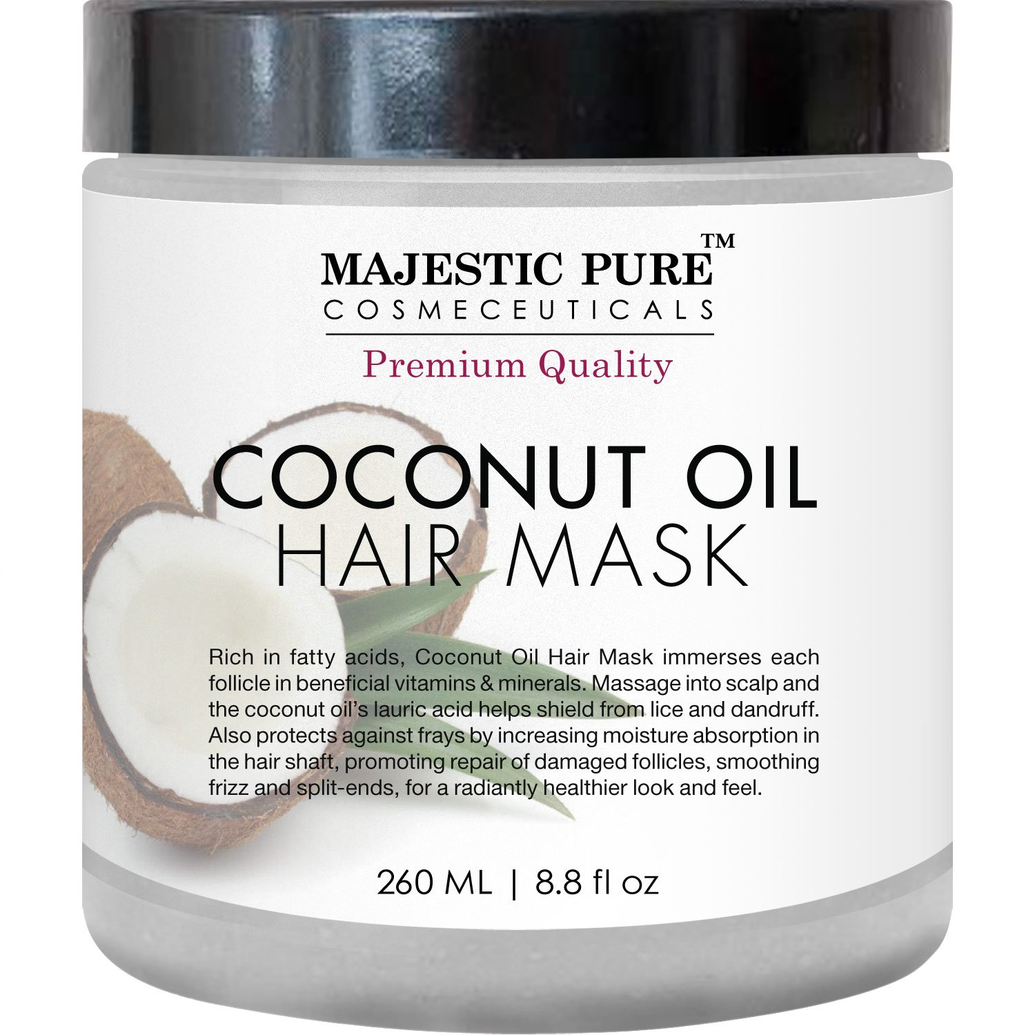 Majestic Pure Coconut Oil Hair Mask, Offers Natural Hair Care Treatment, Hydrating & Restorative Mask Restores Shine, Nourishes Scalp & Provides Deep Conditioning for Dry & Damaged Hair, 8.8 fl oz by Majestic Pure