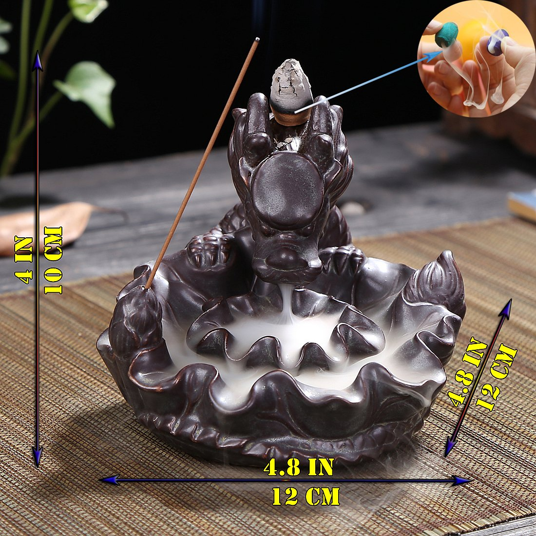 OTOFY Handmade Ceramic Incense Holder, Backflow Incense Burner Figurine Incense Cone Holders Home Decor Gift Decorations Statue Ornaments (Auspicious Dragon)