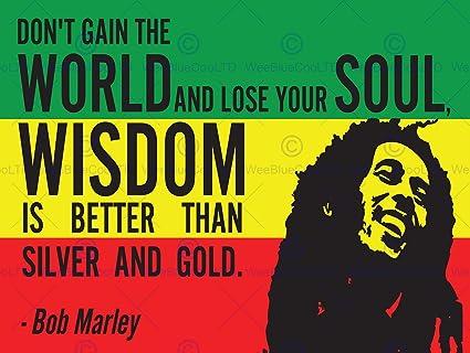Amazon BOB MARLEY RASTA GAIN WORLD WISDOM SOUL GOLD QUOTE Delectable Rasta Wisdom Quotes