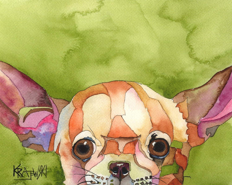 Pug Art Print Signed by Artist Ron Krajewski Painting 8x10 Dog