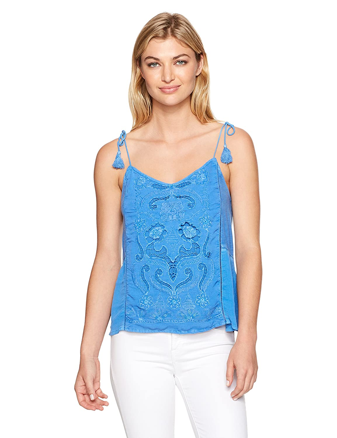 Corn Flower bluee Lucky Brand Womens Washed Embriodered Top TShirt