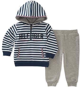 79cec0bac Amazon.com: Tommy Hilfiger Baby Boys 2 Pieces Hoodie Pants Set: Clothing