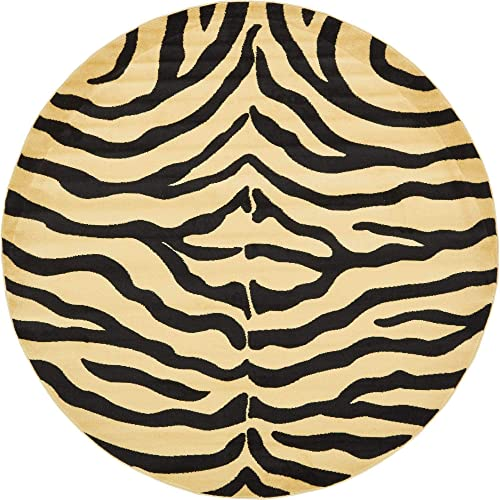 Unique Loom Wildlife Collection Zebra Animal Print Cream Round Rug 8 0 x 8 0