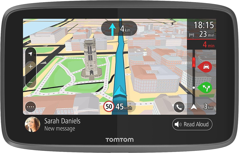 TomTom GO 6200, GPS para coche, 6 pulgadas, llamadas manos libres, Siri y Google Now, actualizaciones viaWi-Fi, traffic para toda la vida mediante tarjeta SIM, mapas mundiales, mensajes de smartphone