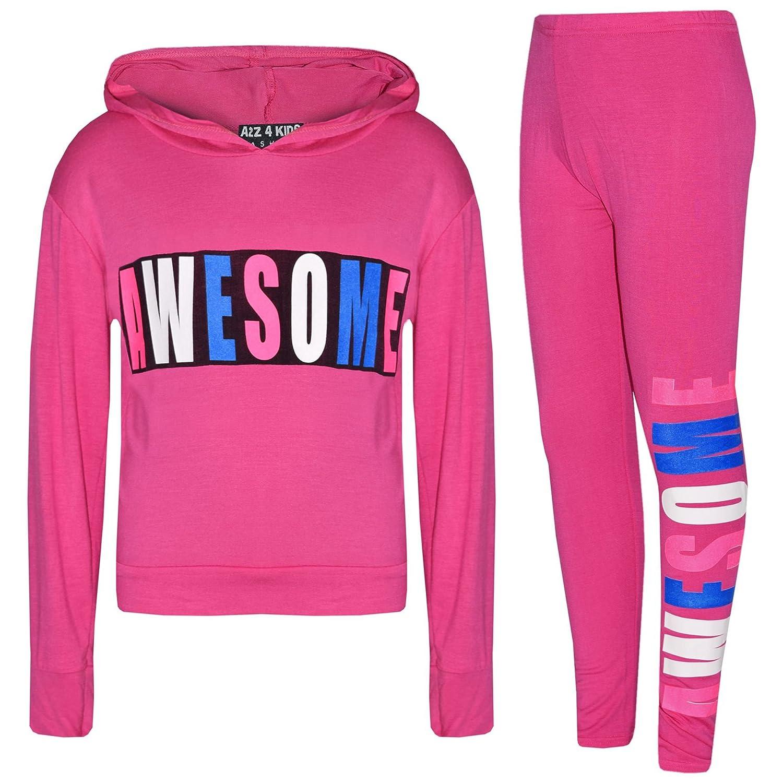 Kids Girls Tops Awesome Print Hooded Crop Top Legging Lounge Wear Set 7-13 Years