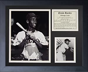 """Ernie Banks Chicago Cubs 11"""" x 14"""" Framed Photo Collage by Legends Never Die, Inc. - B&W"""