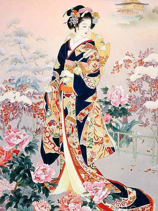 5D Diy Diamante Pintura Kimono Chica Mosaico Bordado Retrato ...