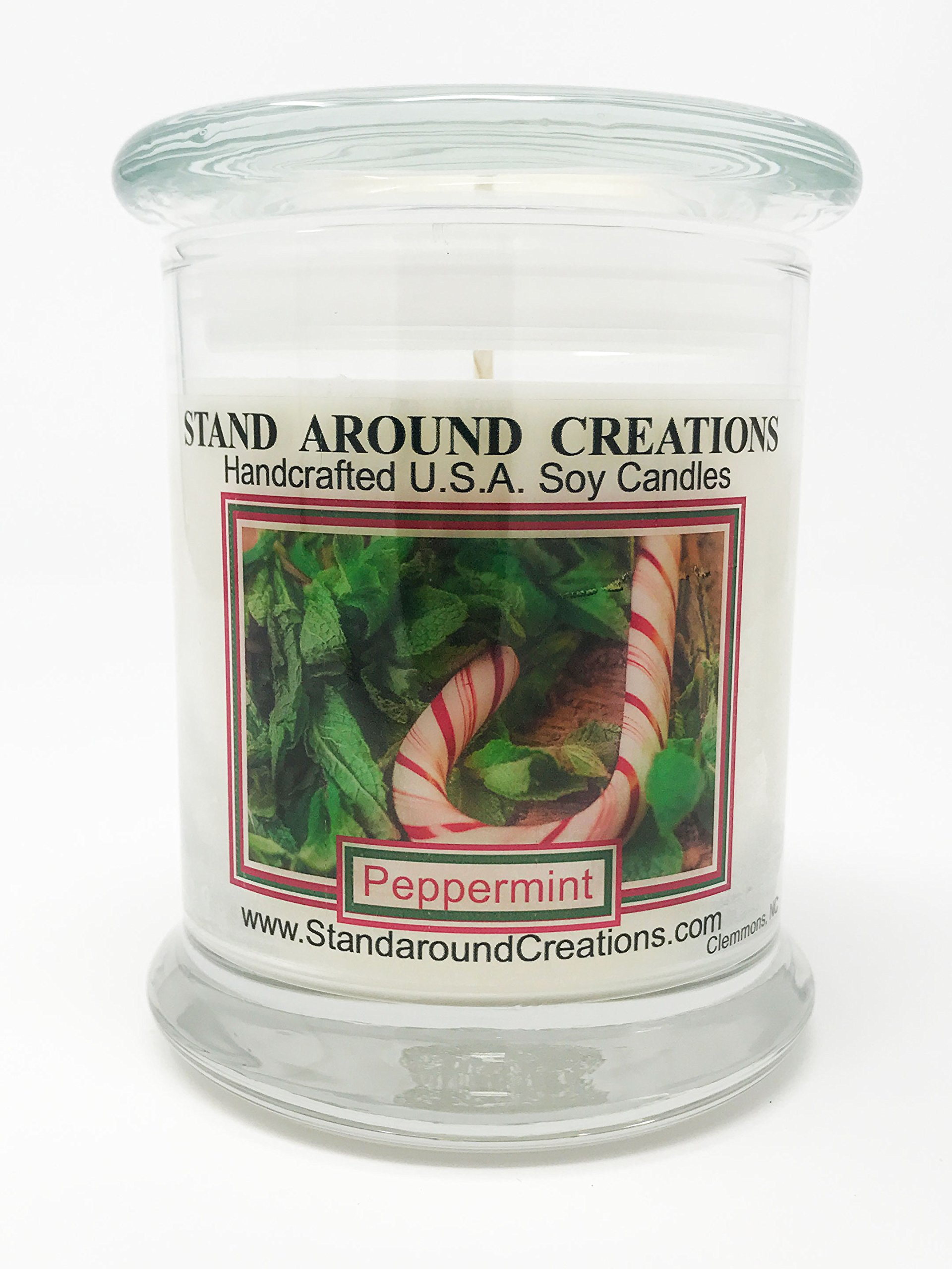Premium 100% All Natural Soy Candle - 12 oz. Status Jar - Peppermint: Mint essential oil creates a''true to life'' scent of this much-loved winter candy. Made w/peppermint essential oil.