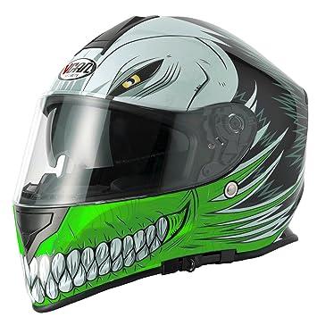 Vcan V127 hueca Full Face casco de moto, verde