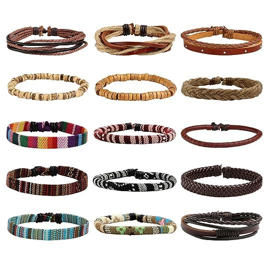 MILAKOO 15Pcs Mens Womens Braided Leather Bracelets Linen Hemp Cords Ethnic Tribal Bracelets Wood Beads Wristbands