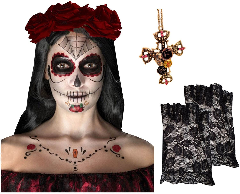 Día de muerto Esqueleto Cara Kit tatuaje + 3 Oscuro pelo rojo ...