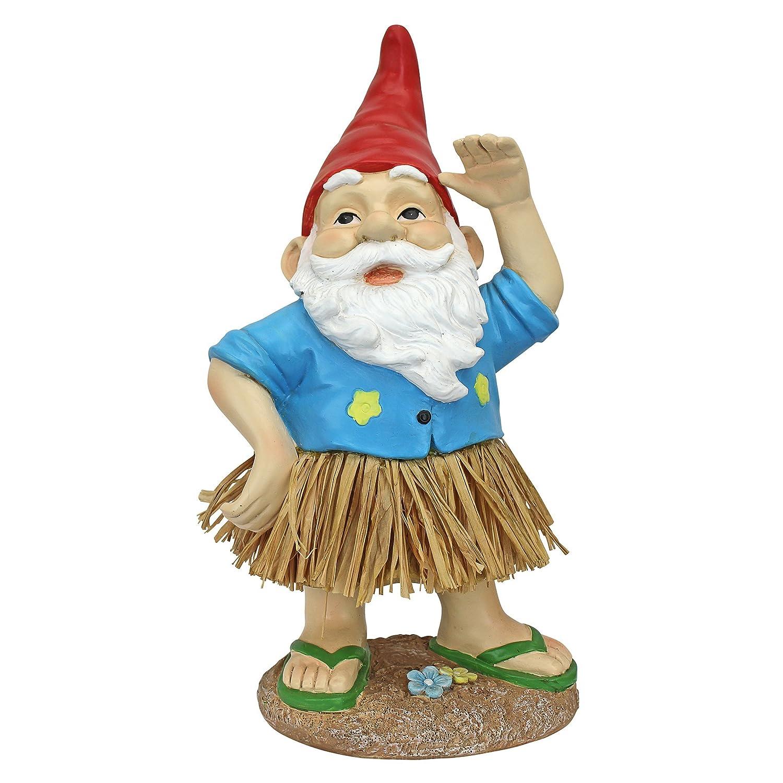 Design Toscano Garden Gnome Statue - Hawaiian Hank Grass Skirt Gnome - Outdoor Garden Gnomes - Funny Lawn Gnome Statues