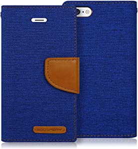 Goospery Canvas Wallet for Apple iPhone 6S Case (2015) iPhone 6 Case (2014) Denim Stand Flip Cover (Blue) IP6-CAN-BLU