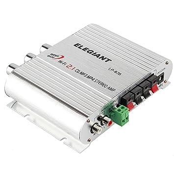 ELEGIANT 200W 12V SUPER BASS MINI AMPLIFICADOR ESTEREO HI-FI CON RADIO-MP3 9678: Amazon.es: Electrónica