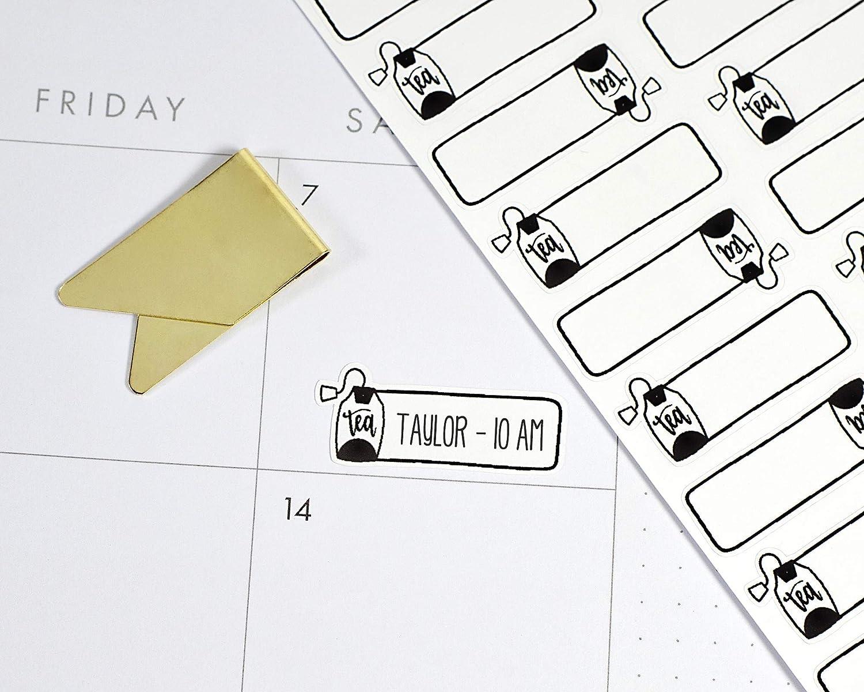 Hot Tea Tea Bag Planner Stickers Tea Time Black Tea Bag Stickers for Tracking #901-011-001L-WH
