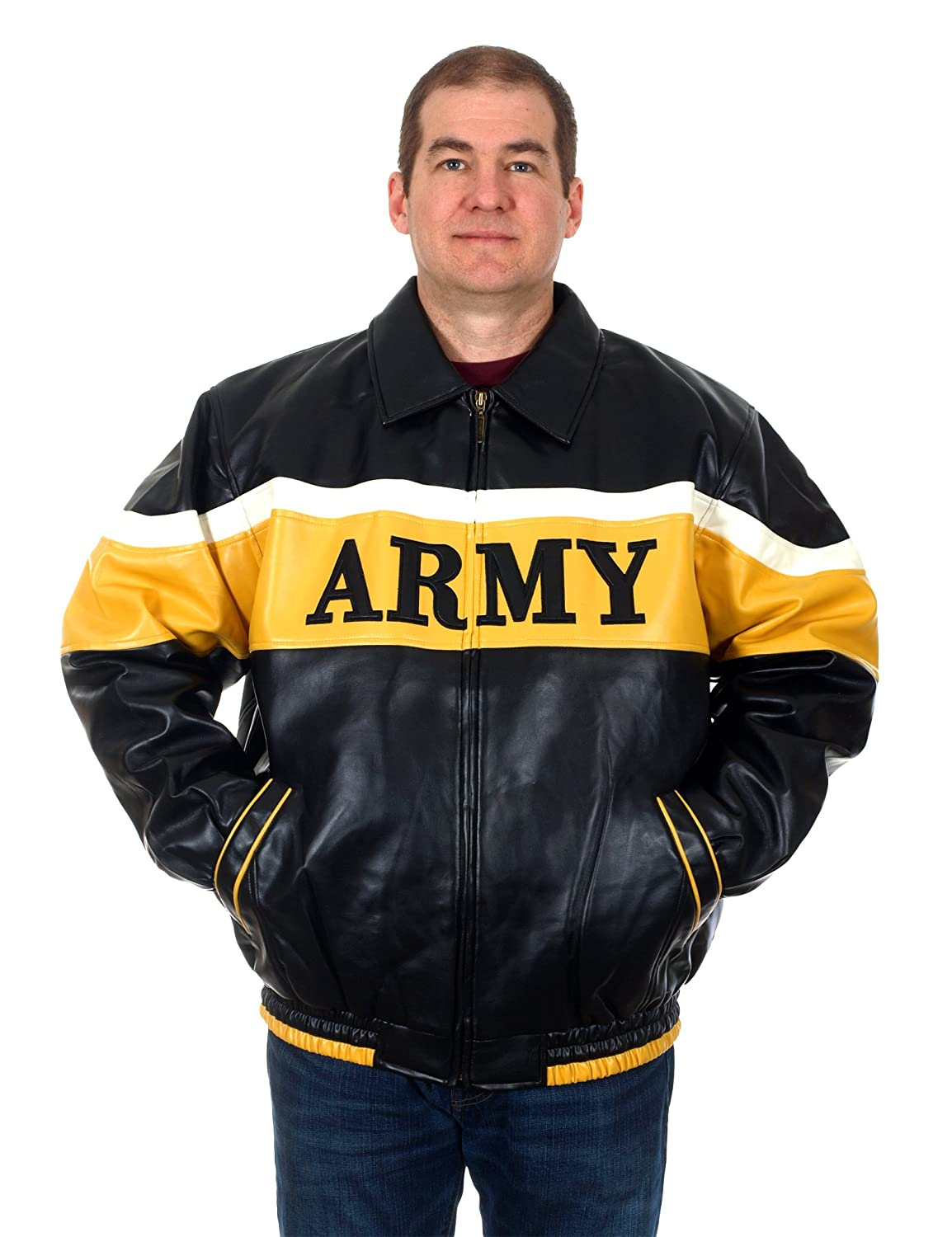 818e739f8 Oarsman Men's Officially Licensed US Army Faux Leather Bomber Jacket