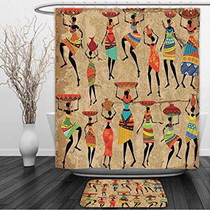 Vipsung Shower Curtain And Ground MatAfro African American History Art Decor By Afrocentric Artwork In Tribal