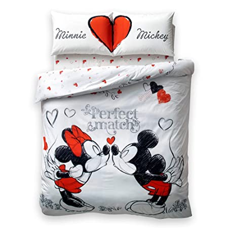 Piumino Matrimoniale Minnie E Topolino.Disney Minnie Mickey Perfect Match Amore 100 Cotone Parure