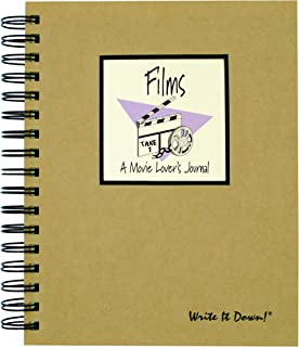 "product image for Journals Unlimited ""Write it Down!"" Series Guided Journal, Films, A Movie Lover's Journal, with a Kraft Hard Cover, Made of Recycled Materials, 7.5""x 9"""