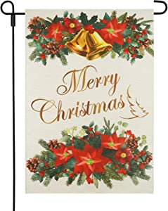LAYOER Winter Burlap Christmas Bell Garden Flag 12.5 x 18 Inch House Yard Outdoor Decorative Red Flowers Xmas New Year