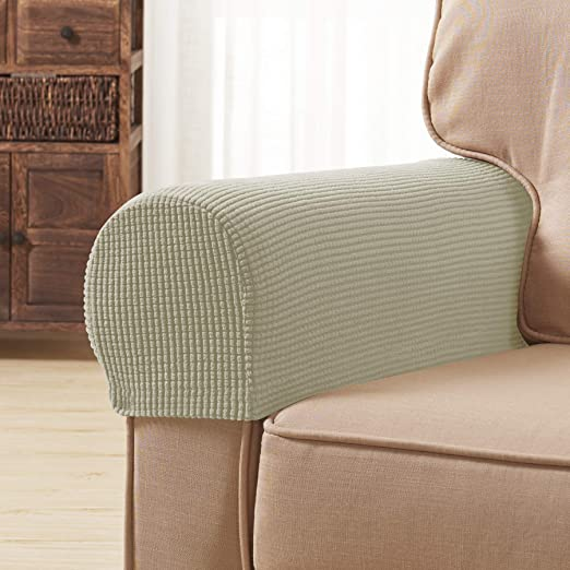 Subrtex Spandex Stretch Fabric Armrest Covers Anti Slip Furniture Protector Armchair Slipcovers For Recliner Sofa Set Of 2 With Free Fixing Tools