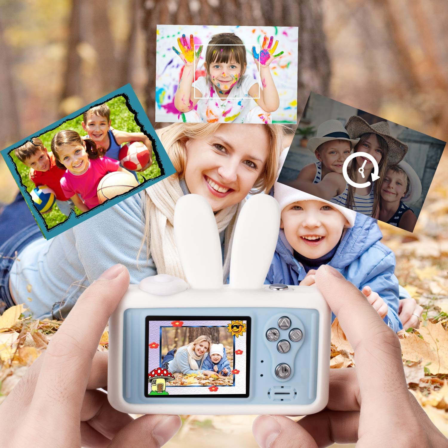 Abdtech Gifts Rabbit Kids Camera, Rechargeable Digital Cameras with Shockproof Soft Cover, Mini Toy Cameras for 5-10 Years Old Girl Boys Including 16GB SD Card, Perfect for Birthday Festival Presents by Abdtech (Image #5)