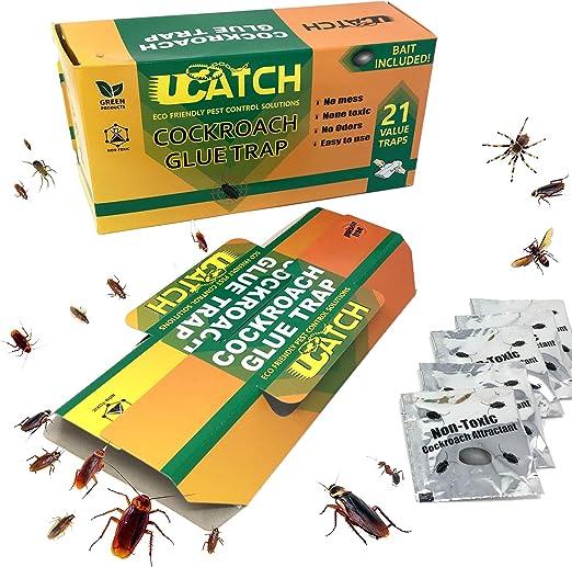 UCatch Paquete de 21 Trampa de pegamento para cucarachas, cebo ...
