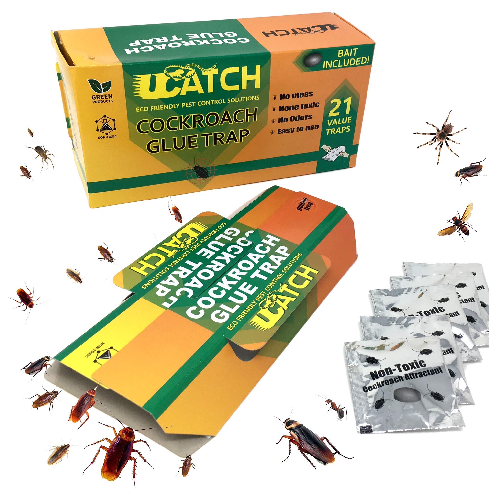 UCatch 21 Pack Cockroach Glue Trap, Bait Included, Effective Solution| Eco- Friendly, Non Poison Pest Control Products, Chemical Free, Non Toxic | Works on Crawling Insects, Bugs, Spiders, Ants by UCatch
