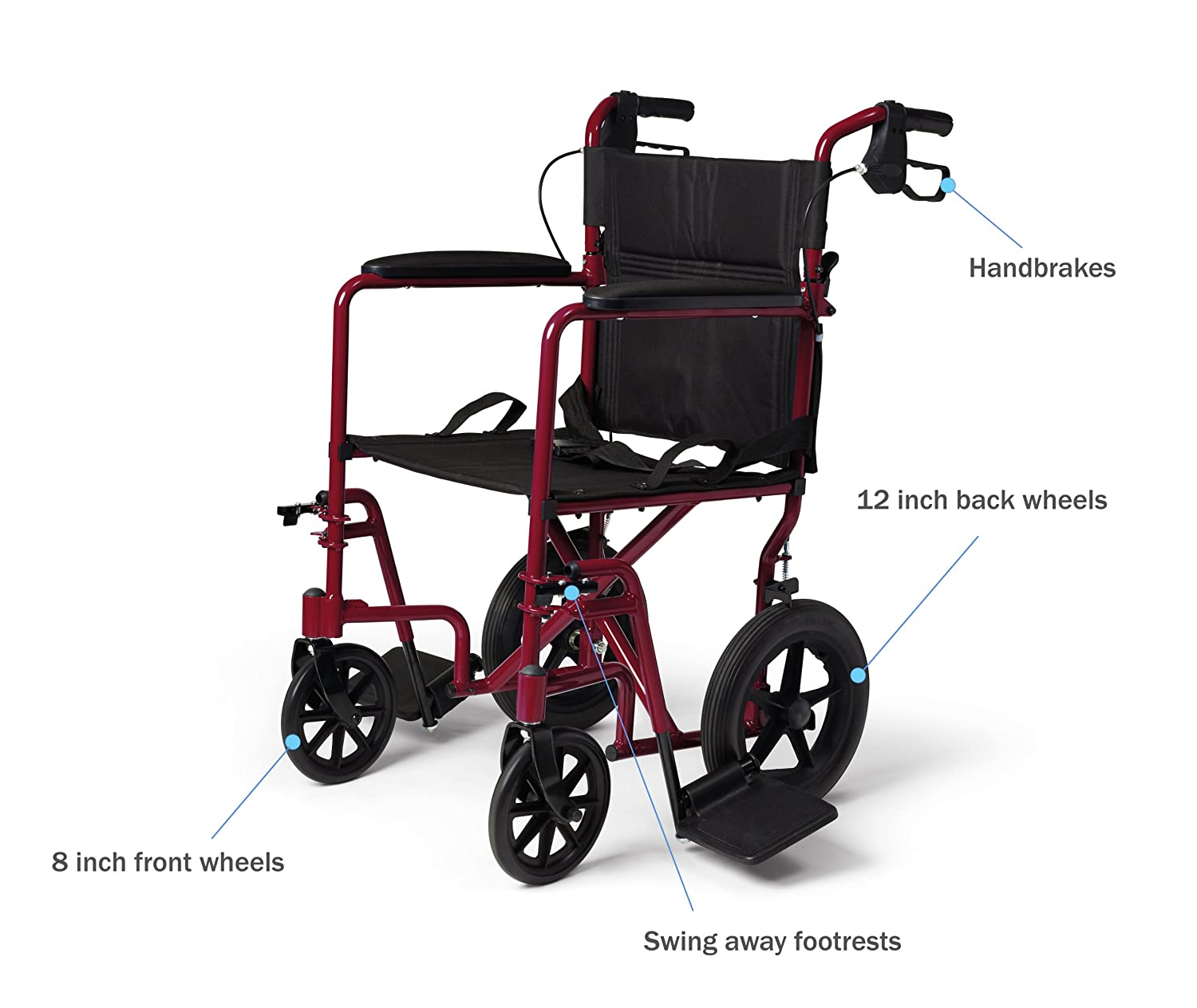 Transport chair amazon - Amazon Com Medline Lightweight Transport Adult Folding Wheelchair With Handbrakes Red Health Personal Care
