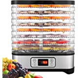 Amazon Com Food Dehydrator Machine 8 Dryer Trays Bpa Free Drying System With Nesting Tray For Beef Jerky Preserving Wild Food And Fruit Vegetable Dryer In Home Kitchen Button 8 Tray Kitchen