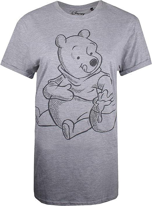 TALLA L. Disney Winnie The Pooh-Sketch Camiseta para Mujer