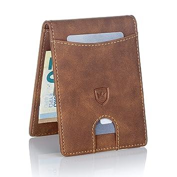9777be44703cd Kronenschein® Premium Herren Portemonnaie Geldbeutel mit Geldklammer  Portmonee Männer Geldbörse RFID Slim-Wallet Brieftasche