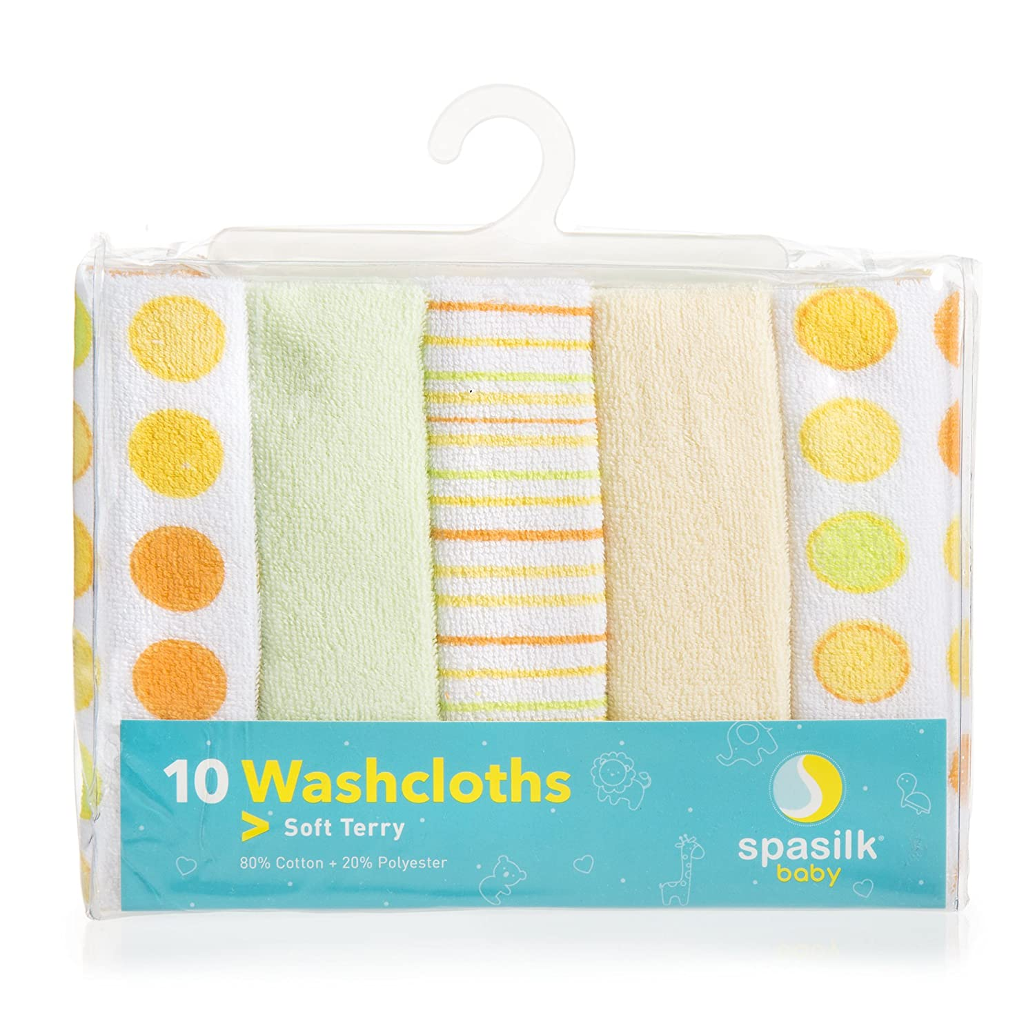Spasilk 10-Pack Soft Terry Washcloth Yellow