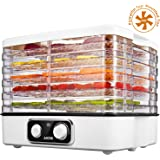 Aicok Electric Food Dehydrator, Multi-Tier Food Preserver with Temperature Control from 95ºF to 158ºF for Beef Jerky, Dried Fruits, Vegetables & Nuts, 5 Stackable Drying Trays, Dishwasher Safe