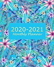 2020-2021 Monthly Planner: Blue Floral 2 Year Monthly Planner Calendar Schedule Organizer January 2020 to December 2021 (24
