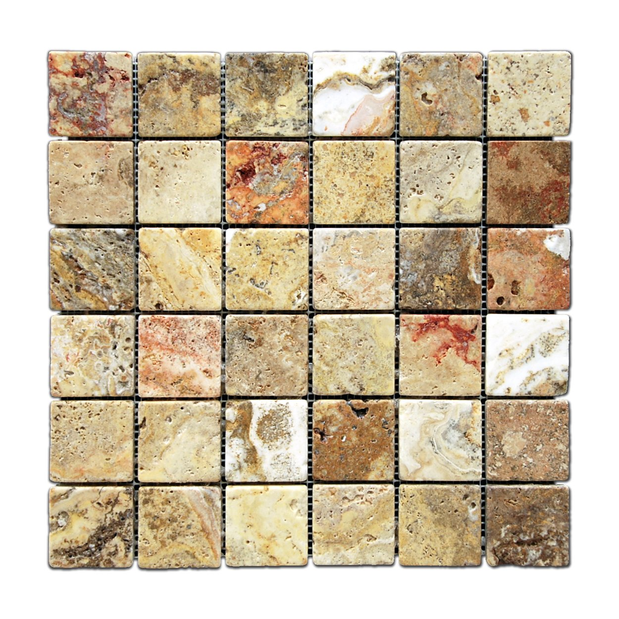 scabos 2 x 2 tumbled travertine mosaic tile 6 x 6 sample marble tiles amazoncom